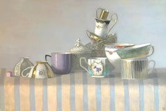 """""""Elegant Still Life of Cups with Stripes""""  Lavender, turquoise, white, gold, tan"""