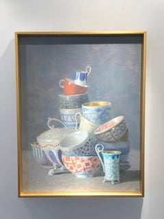 """""""Elegant Still Life of Many Cups, Some with Orange"""" Gold, Blue, White, Turquoise"""