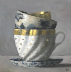 """""""Elegant Still Life of Three Stacked Cups, One White with Gold Stars"""" Oil Paint"""