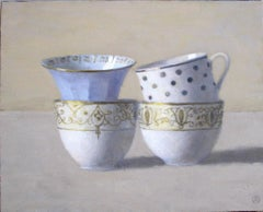 """""""Elegant Still Life of Four Cups with White, Blue and Gold"""""""