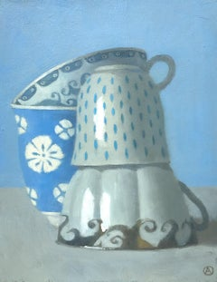 """""""Four Stacked Cups in Blue""""  Elegant  and whimsical still life, blue and white,"""