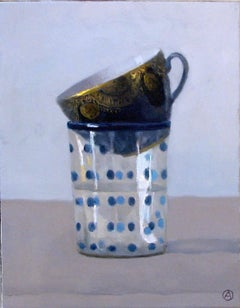 """""""Elegant Still Life of Glass with Blue Dots and Gold and Blue Cup"""""""