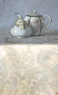 """""""Elegant Still Life of Japanese and Persian Teapots on Patterned Fabric"""""""