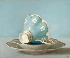 """Light Blue Cup on Side""  Blue Cup with White Flowers in Shallow Bowls on Blue"