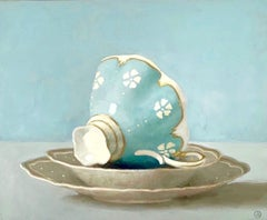 """""""Light Blue Cup on Side""""  Blue Cup with White Flowers in Shallow Bowls on Blue"""