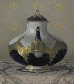 MEISSEN TEAPOT, still life, photorealism, porcelain, blue, gold, patterned cloth