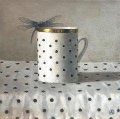 """""""Mug with Polka Dots and Dragonfly""""  White/black mug, gold rim, black polka dots"""
