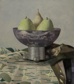 PEARS IN A METAL VASE, still-life, photo-realism, fruit, green, tablecloth