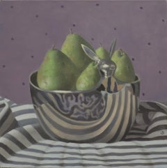 PEARS IN BOWL WITH BUNNY, purple backdrop, green, metal, still-life, stripes