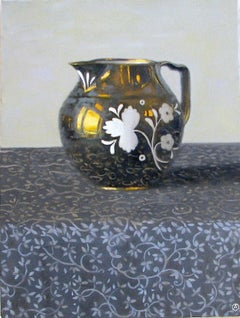 """""""Elegant Still Life of Pitcher in Blue and Gold with White Pattern on Cloth"""""""