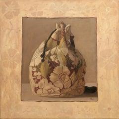 RED BAG, academic realism, sewed canvas, still life, ornamental pattern, tan