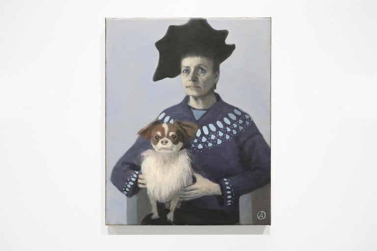 Self Portrait with Lap Dog, Pekingese, Black Hat, Blue Sweater For Sale 1
