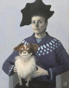 Self Portrait with Lap Dog, Pekingese, Black Hat, Blue Sweater