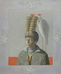 SELF PORTRAIT WITH WHITE CRANE, Woman in Hat, Crane, White, Red, Portrait