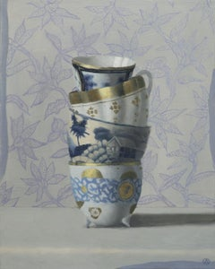 Stacked Cups on Blue, Contemporary Still Life, Antique, Porcelain, Oil