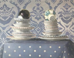 """""""Stacked Plates and Cups on Blue Patterned Cloth""""  Elegant, lavender, polka dots"""