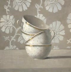 """""""Still Life, Stacked White and Gold Cups with Beige and White Flower Background"""""""