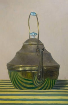 TALL TEAPOT, green and yellow cloth, reflection in teapot, still life