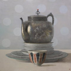 TEAPOT, PLATES AND CUP, still life, everyday objects, dishes on table, red, blue