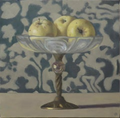 THREE GOLDEN APPLES, still life, mute colors, photo-realism, fruit on table