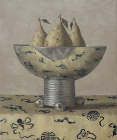 THREE PEARS IN A VASE, still-life, photo-realism, fruit on table, table cloth