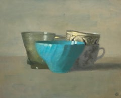 """""""Elegant Still Life of Turquoise Cup with Other Cups"""" Oil Paint"""