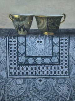 """""""Elegant Still Life of Two Gold Cups on Blue Chinese Fabric"""" Still-Life Realism"""