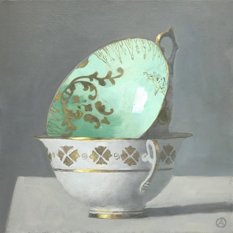 """Olga Antonova Still-Life Painting - """"Two Stacked Cups, Green on Top""""  Elegant small still life in green, white, gold"""