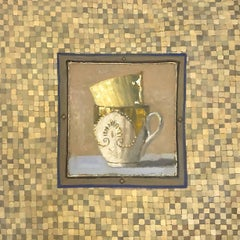 """""""Elegant Still Life of Two Stacked Gold Cups in Checkerboard Frame"""""""