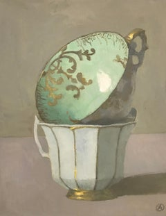 """""""Still Life of Two Stacked Cups in Green/ White/ Gold,"""" Oil on Canvas 14 x 11 in"""