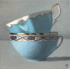 """""""Two Turquoise and Silver Cups Stacked"""""""
