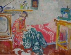 """Interior of my room""Interior, Girl, Oil Russia, 1962 cm. 81 x 64"