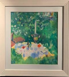 """Samovar "",Breakfast on the lawn, green, oil, cm. 43 x 48  1989"