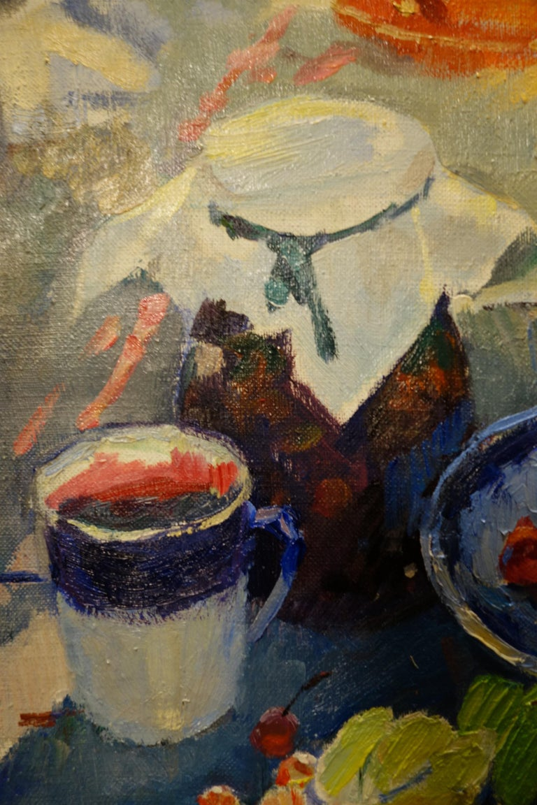 Summer,Berries ,Tea,Teapot,Orange, Green,Emerald ,Blue,Picnic,Russian    OLGA BOGAEVSKAJA (Moscow, 1916 – St. Petersburg, 2000)  Works by Olga Bogaevskaja can be found in various private collections in Europe, Japan, United States and in the