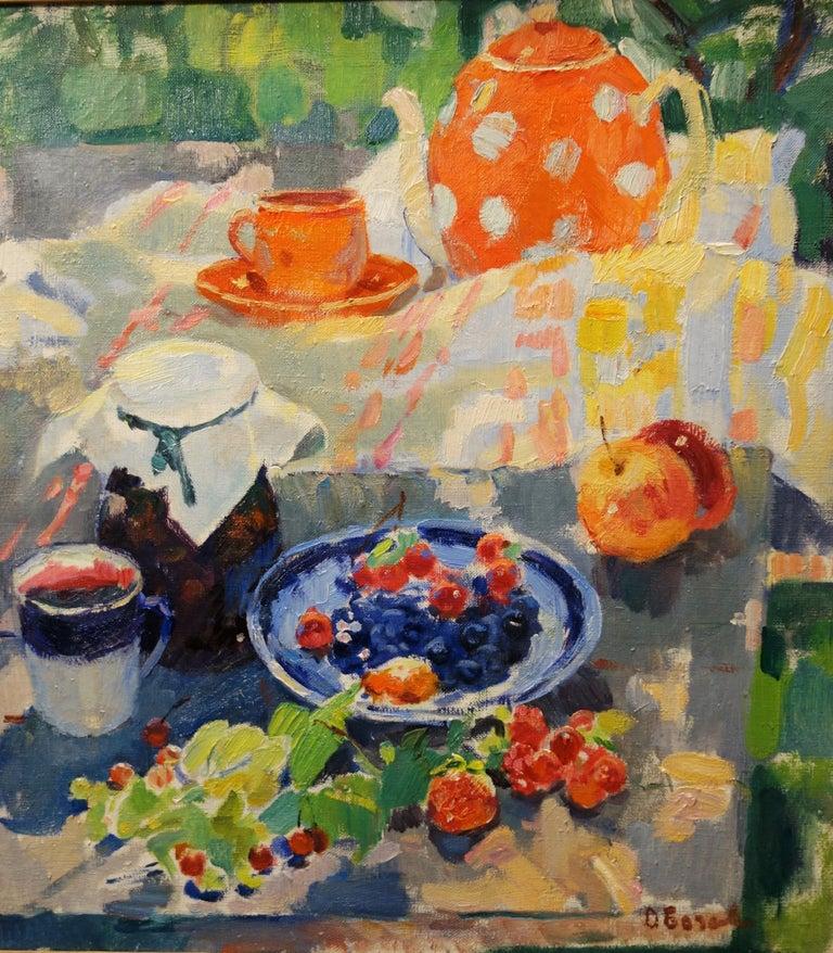 """Olga BOGAEVSKAJA Still-Life Painting - """"Summer afternoon, berries and tea"""" Still life,Breakfast ,Picnic,Summer,red,1963"""