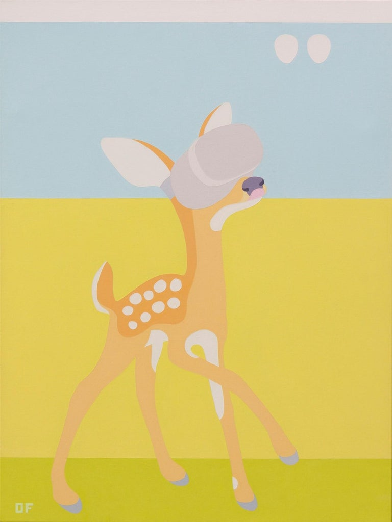 "Olga Feshina Animal Painting - ""Girl's Inner Child Exploring It's Own Nature"""