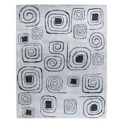 Olga Fisch Art Deco Inspired Gray and Black Rug