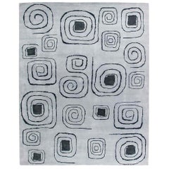 Olga Fisch Art Deco Inspired Pencil-Lined Gray and Black Handmade Wool Rug