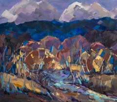 Autumn Carpathians - Landscape Painting Red Green Brown Blue White Pink Purple