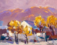 Autumn Landscape - Oil Painting Red Green Brown Blue White Pink Purple
