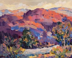 Carpathians - Landscape Painting Red Green Brown Blue White Pink Purple