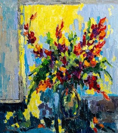 Colorful flowers - Still Life Painting Green Brown Blue Yellow White Pink