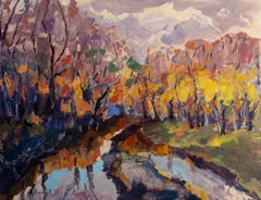 Memories of Warm Autumn - Painting Green Brown Blue Yellow White Pink Purple