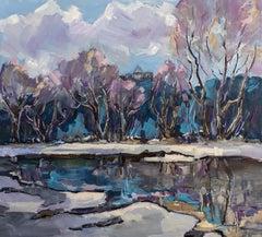 Nevitsky Castle - Landscape Painting Green Brown Blue White Pink Purple