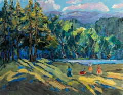 Summer Day - Landscape Painting Green Brown Blue White Pink Yellow