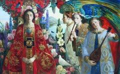 """Annunciation"", Olga Suvorova, Oil on Canvas, 37x58, Russian Figurative Realism"