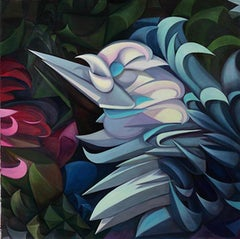 """""""White-Blue Birds Flowers,"""" Oil on Canvas - Geometric Abstraction"""