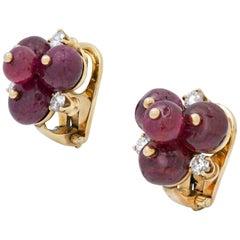 Olga Tritt Ruby and Diamond Clip Earrings