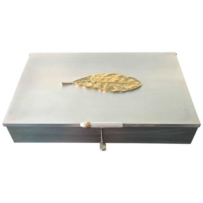 Oligarch Size Sterling Silver Humidor For Sale