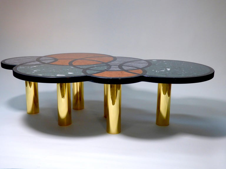 Brass Coffee Table Olimpia Model by Studio Superego, Italy For Sale